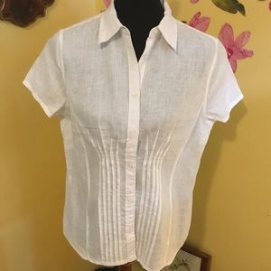 Ralph Lauren White Linen Short Blouse Size Large